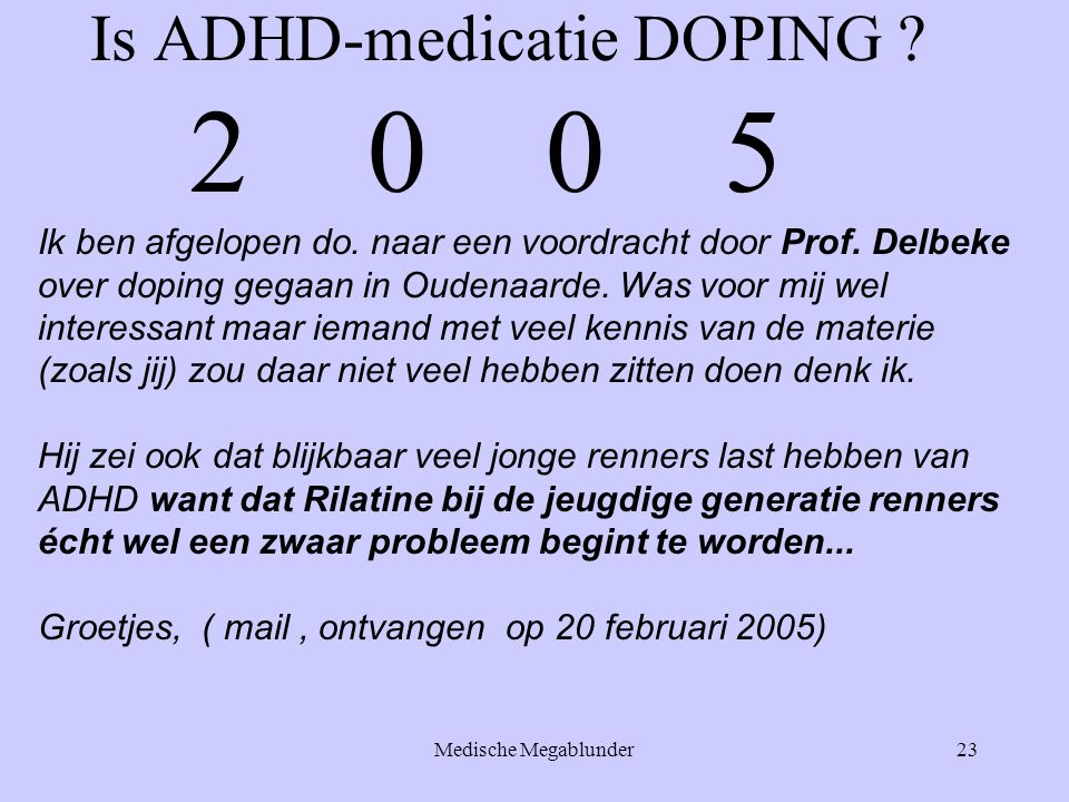 Is ADHD-medicatie DOPING