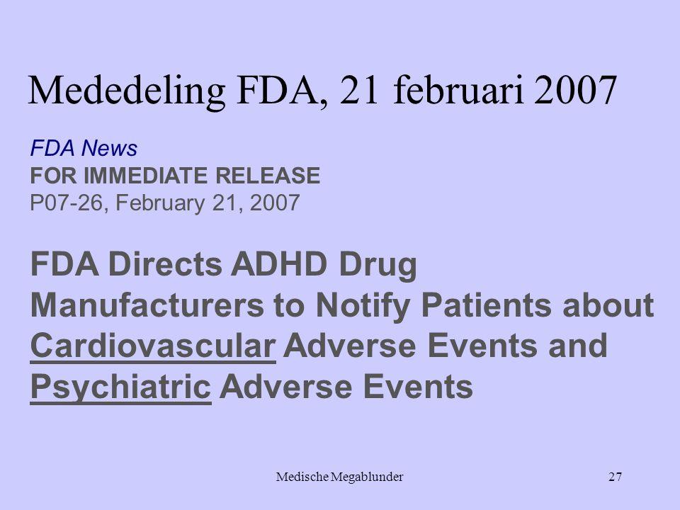 Mededeling FDA, 21 februari 2007