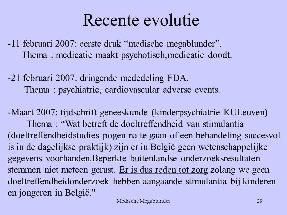 Recente evolutie 11 februari 2007: eerste druk medische megablunder . Thema : medicatie maakt psychotisch,medicatie doodt.