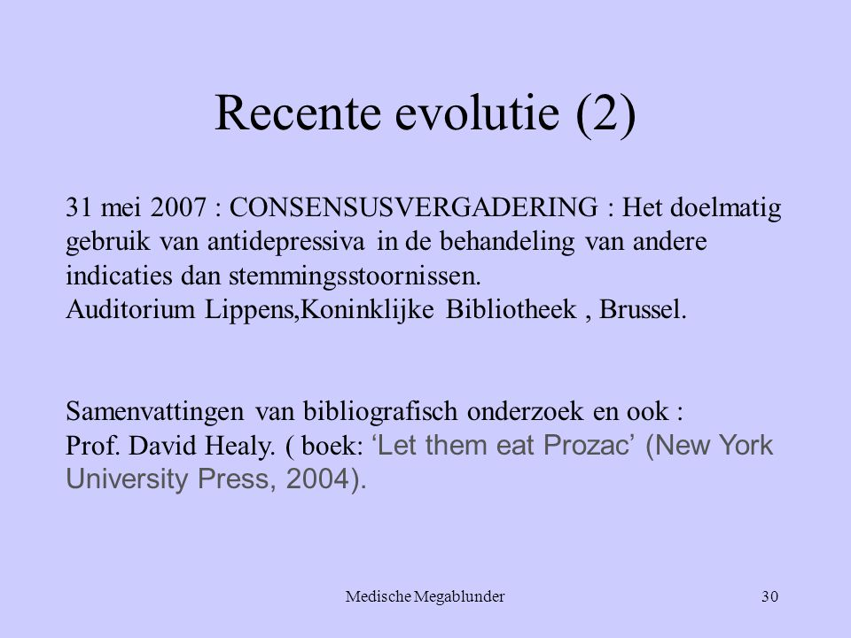 Recente evolutie (2)
