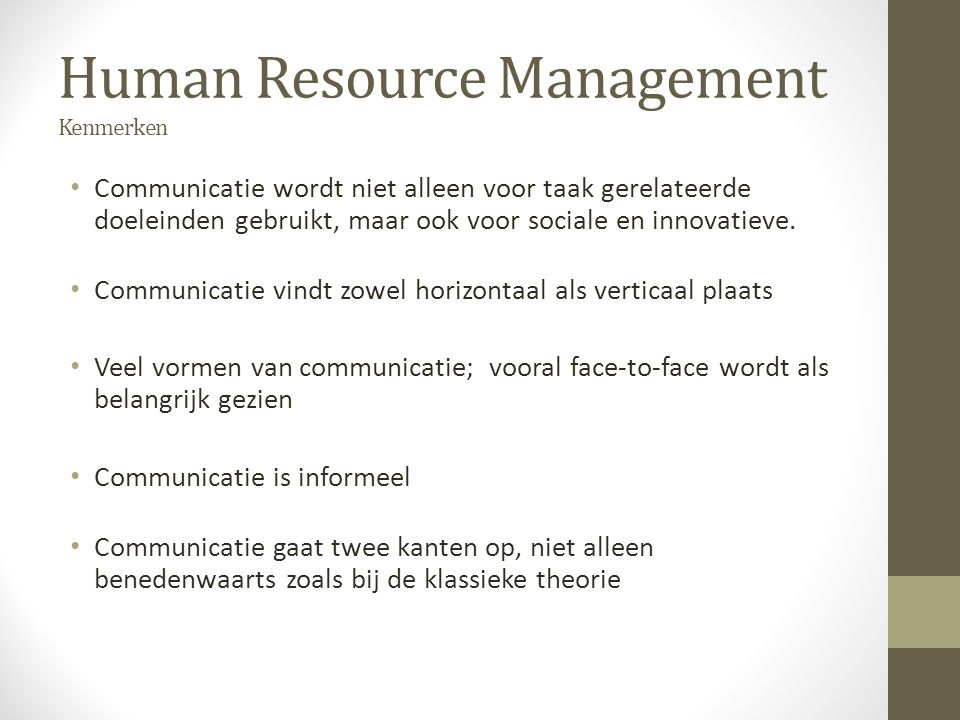 Human Resource Management Kenmerken