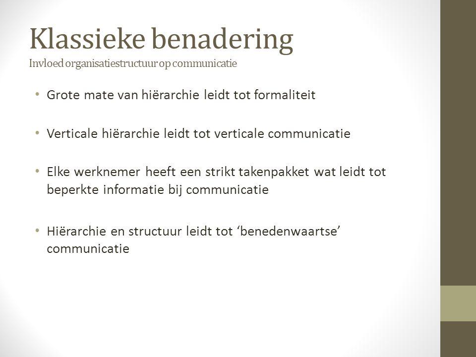 Klassieke benadering Invloed organisatiestructuur op communicatie