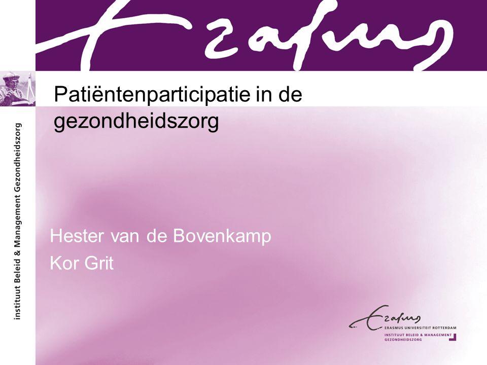 Patiëntenparticipatie in de gezondheidszorg
