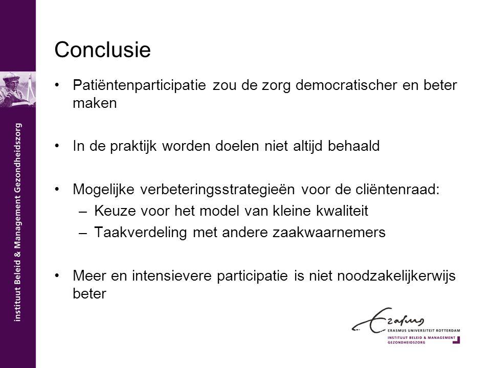 Conclusie Patiëntenparticipatie zou de zorg democratischer en beter maken. In de praktijk worden doelen niet altijd behaald.