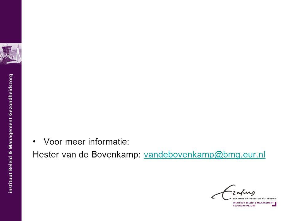 Voor meer informatie: Hester van de Bovenkamp: vandebovenkamp@bmg.eur.nl