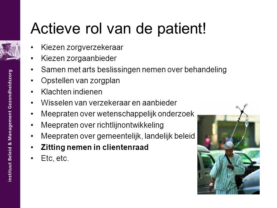 Actieve rol van de patient!