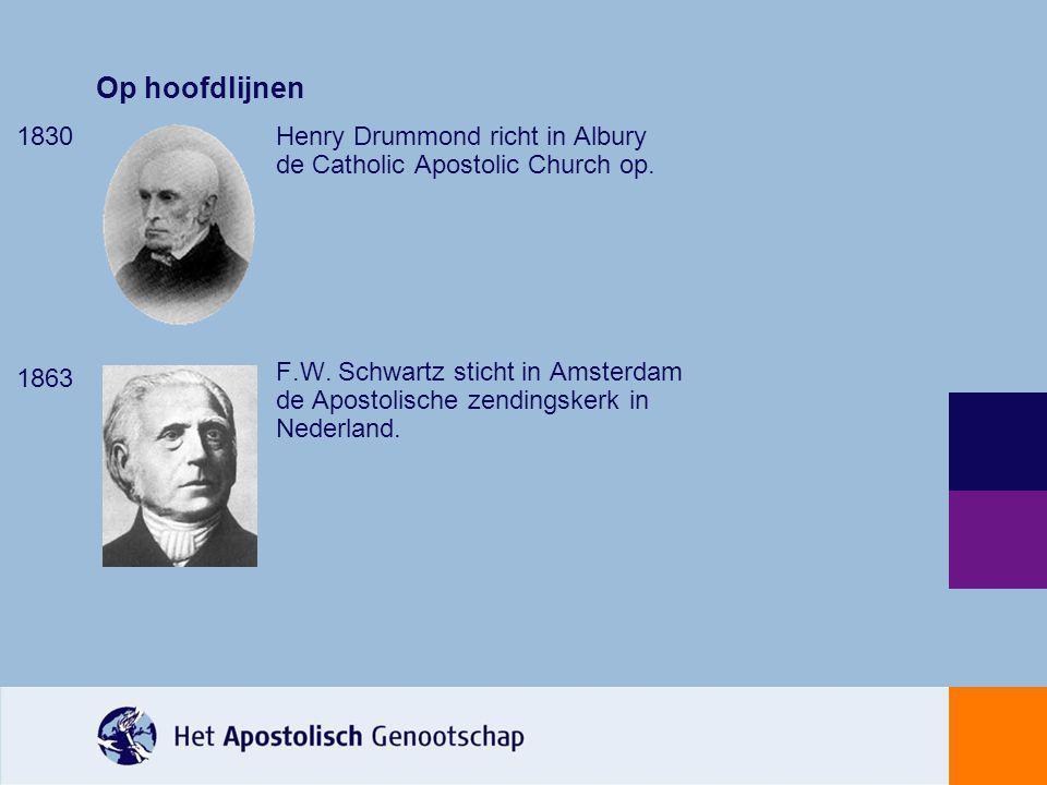 Op hoofdlijnen 1830. 1863. Henry Drummond richt in Albury de Catholic Apostolic Church op.