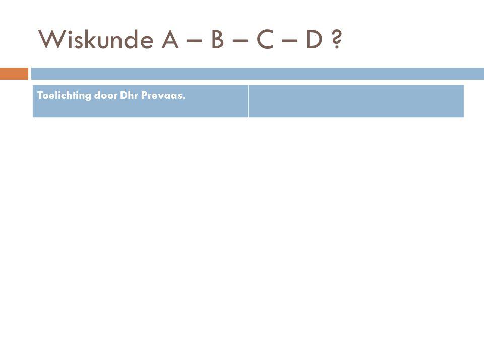 Wiskunde A – B – C – D Toelichting door Dhr Prevaas.