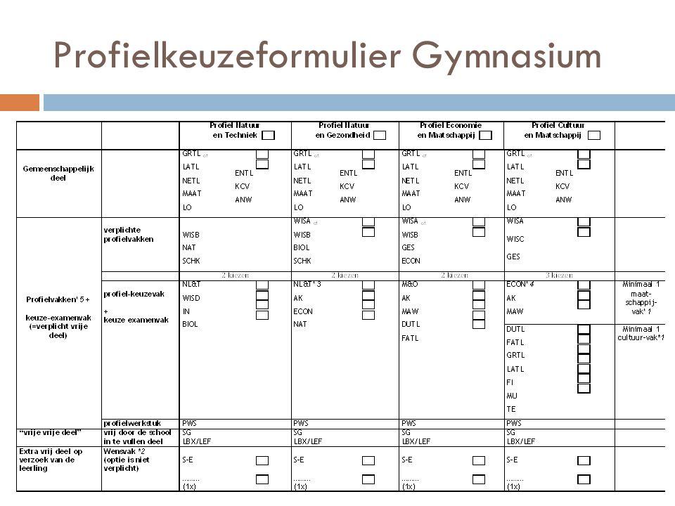 Profielkeuzeformulier Gymnasium