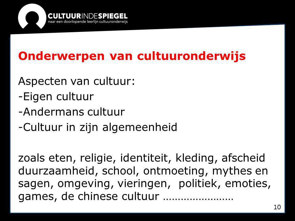 Onderwerpen van cultuuronderwijs