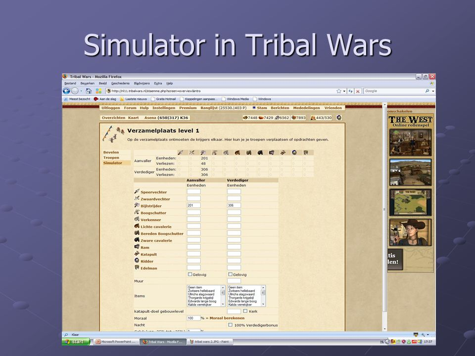 Simulator in Tribal Wars