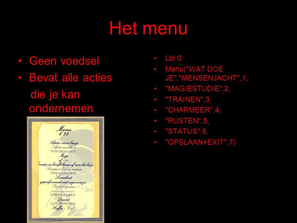 Het menu Geen voedsel Bevat alle acties die je kan ondernemen Lbl 0