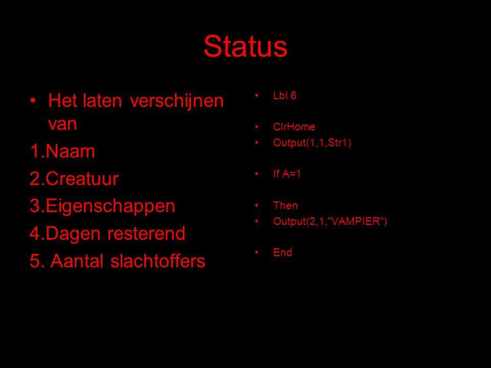 Status Het laten verschijnen van 1.Naam 2.Creatuur 3.Eigenschappen