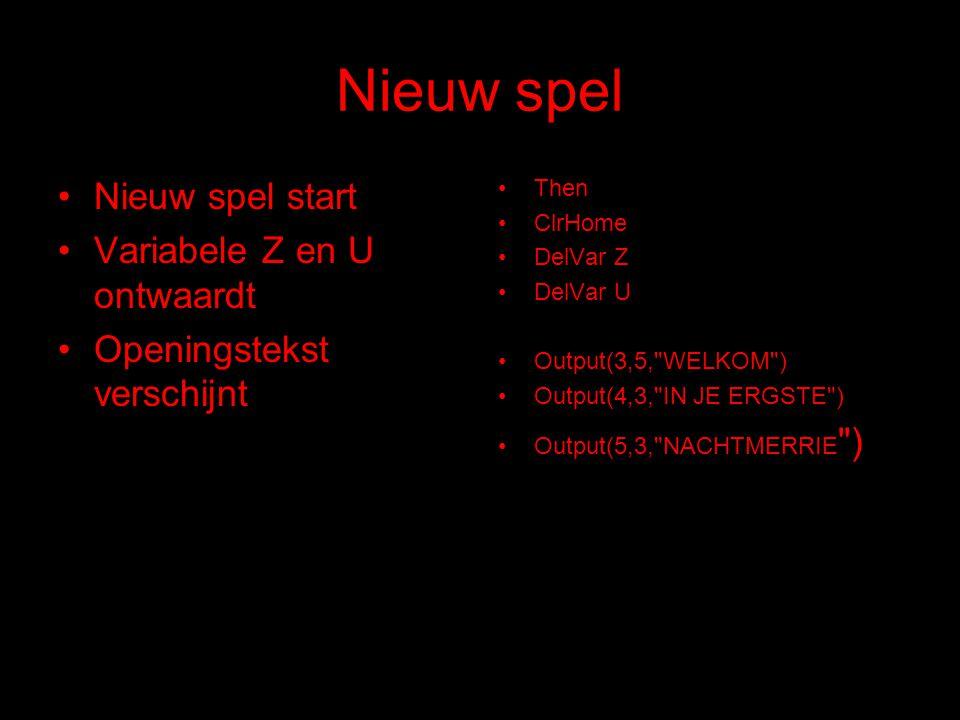 Nieuw spel Nieuw spel start Variabele Z en U ontwaardt