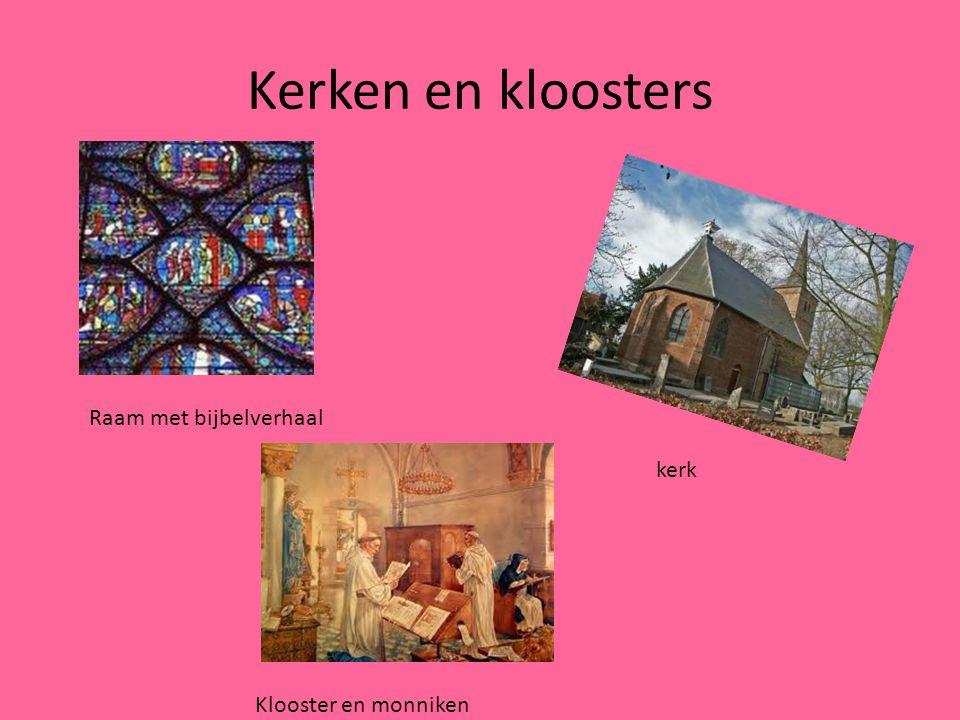 Kerken en kloosters Raam met bijbelverhaal kerk Klooster en monniken