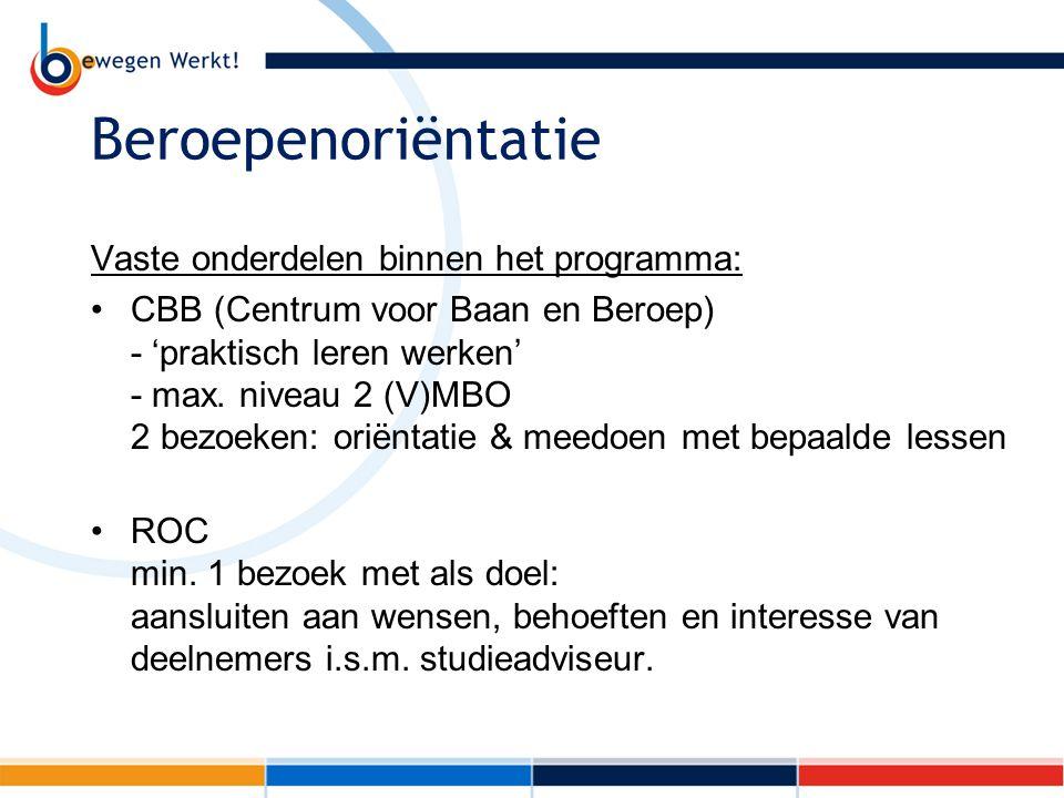 Beroepenoriëntatie Vaste onderdelen binnen het programma: