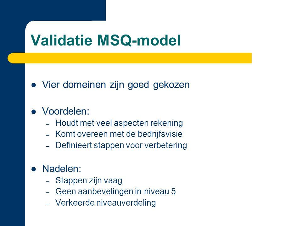 Validatie MSQ-model Vier domeinen zijn goed gekozen Voordelen: