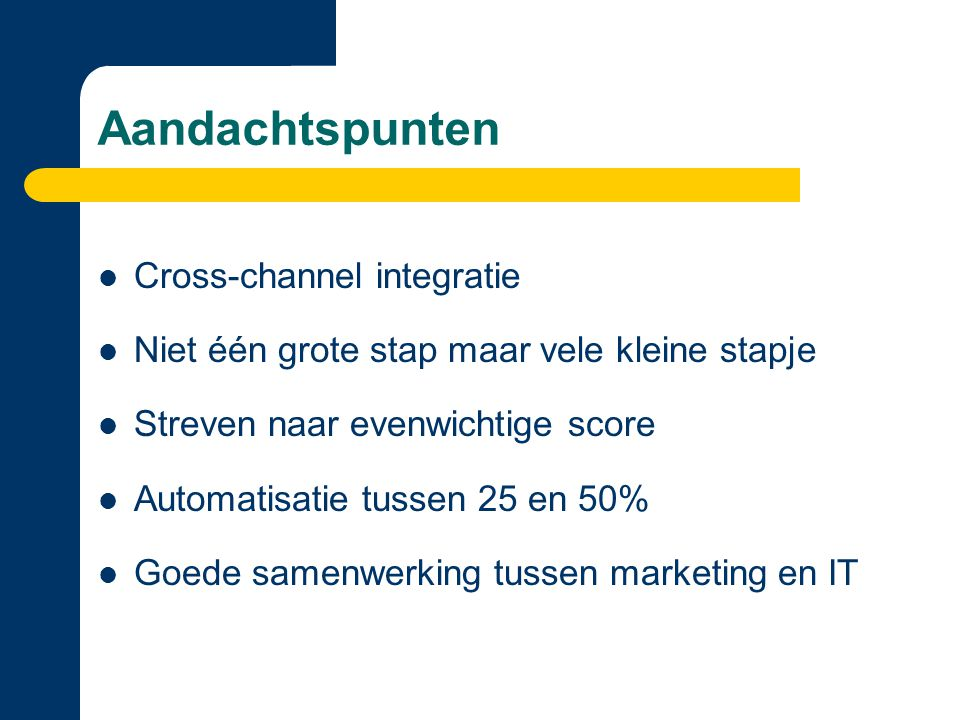 Aandachtspunten Cross-channel integratie