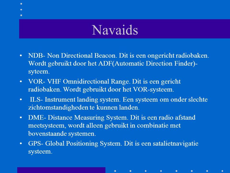 Navaids NDB- Non Directional Beacon. Dit is een ongericht radiobaken. Wordt gebruikt door het ADF(Automatic Direction Finder)- syteem.