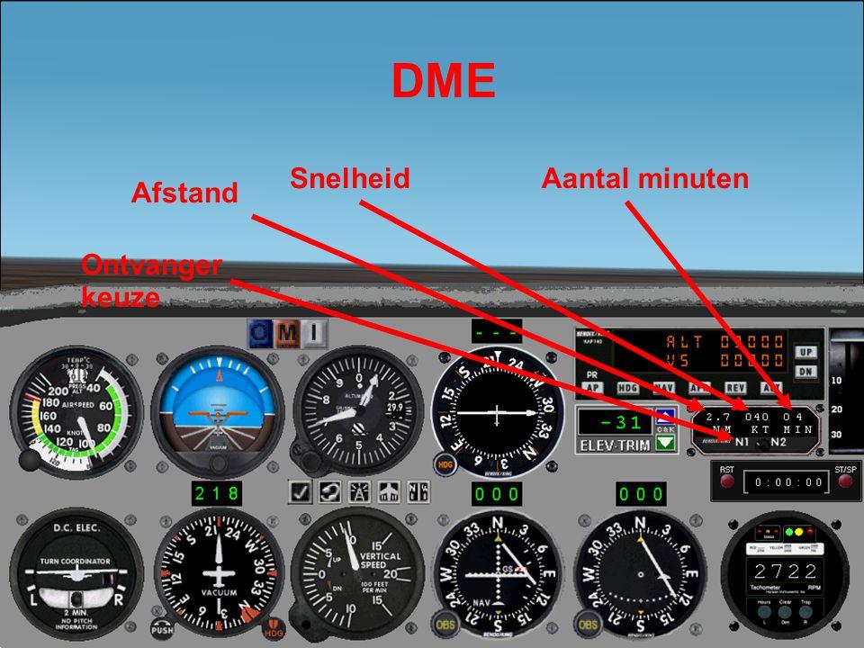 DME Snelheid Aantal minuten Afstand Ontvanger keuze