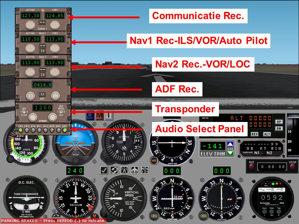 Radio Panel Communicatie Rec. Nav1 Rec-ILS/VOR/Auto Pilot