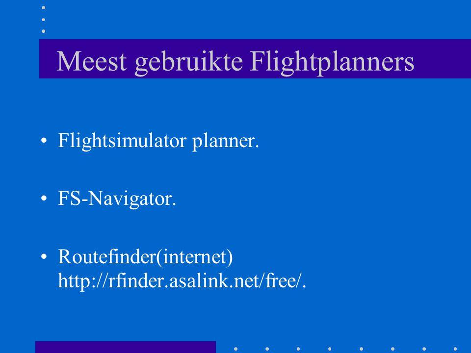 Meest gebruikte Flightplanners