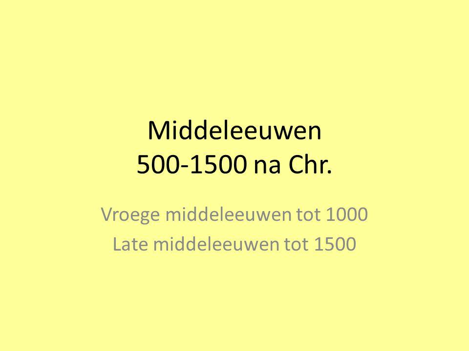 Vroege middeleeuwen tot 1000 Late middeleeuwen tot 1500