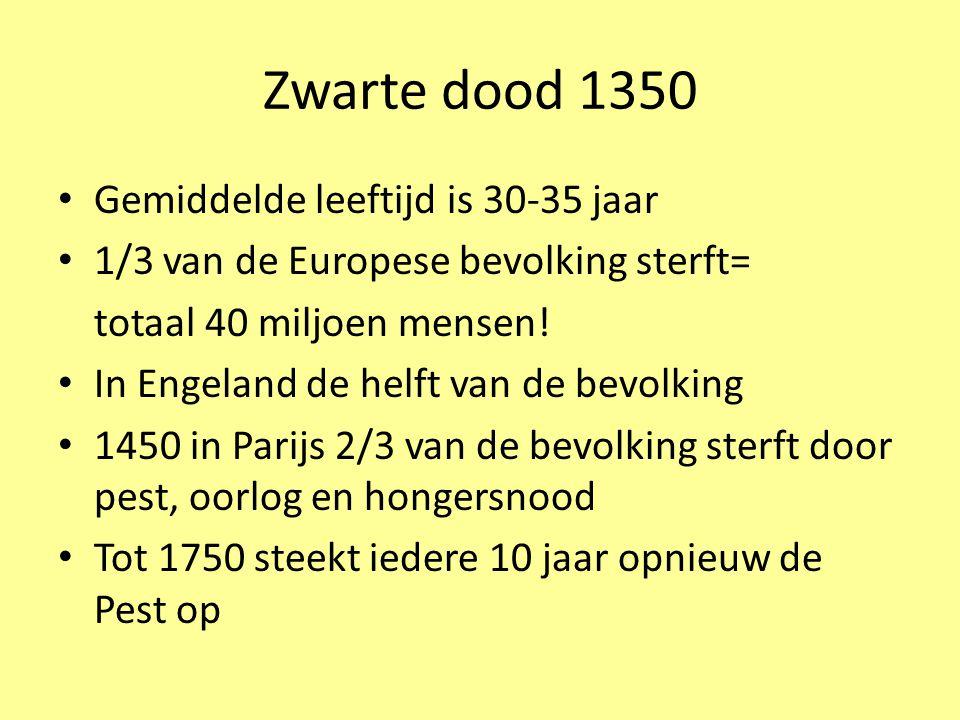 Zwarte dood 1350 Gemiddelde leeftijd is 30-35 jaar