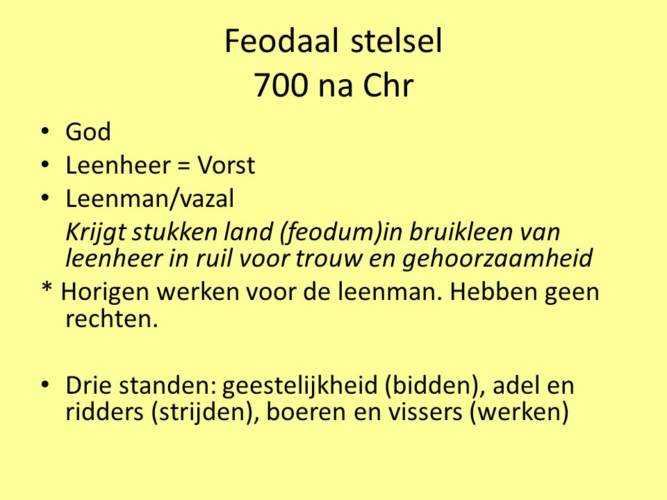 Feodaal stelsel 700 na Chr God Leenheer = Vorst Leenman/vazal