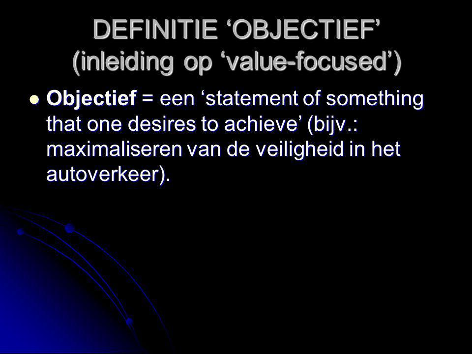 DEFINITIE 'OBJECTIEF' (inleiding op 'value-focused')