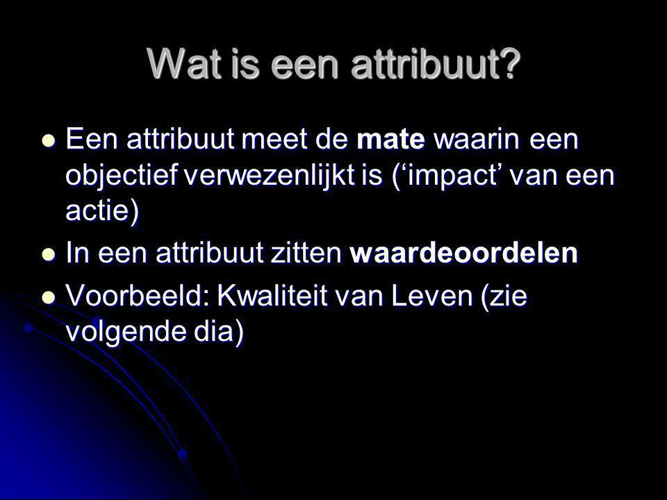 Wat is een attribuut Een attribuut meet de mate waarin een objectief verwezenlijkt is ('impact' van een actie)