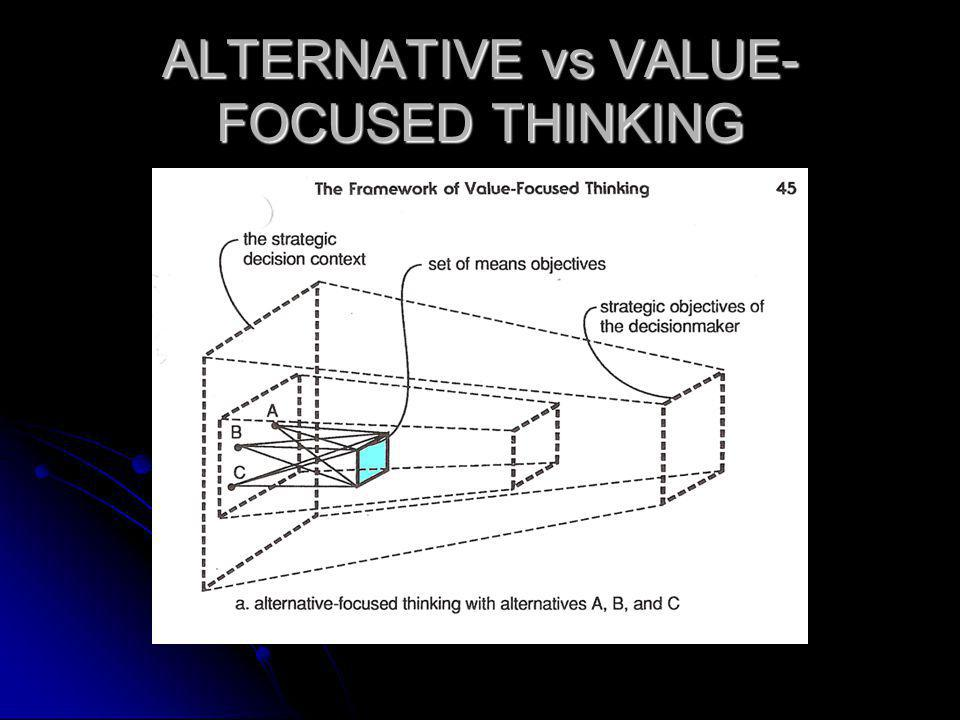 ALTERNATIVE vs VALUE-FOCUSED THINKING