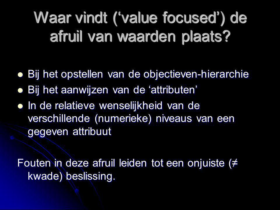 Waar vindt ('value focused') de afruil van waarden plaats