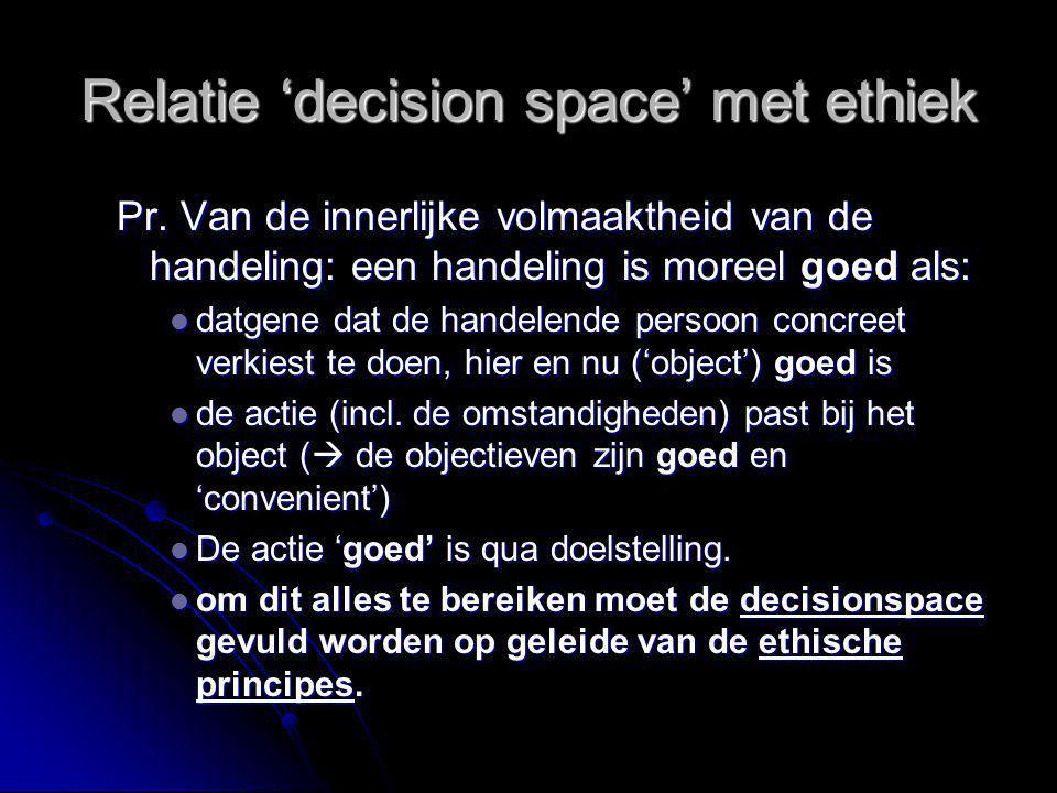 Relatie 'decision space' met ethiek