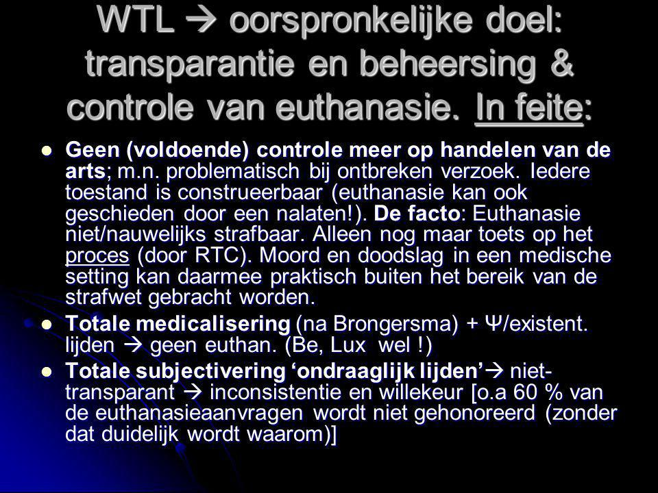 WTL  oorspronkelijke doel: transparantie en beheersing & controle van euthanasie. In feite: