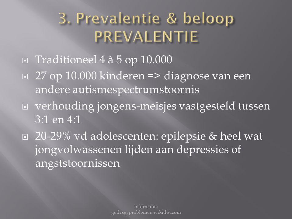 3. Prevalentie & beloop PREVALENTIE