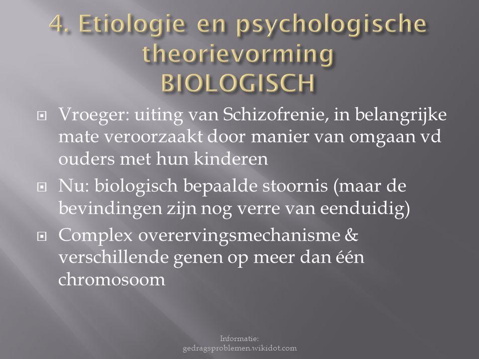 4. Etiologie en psychologische theorievorming BIOLOGISCH