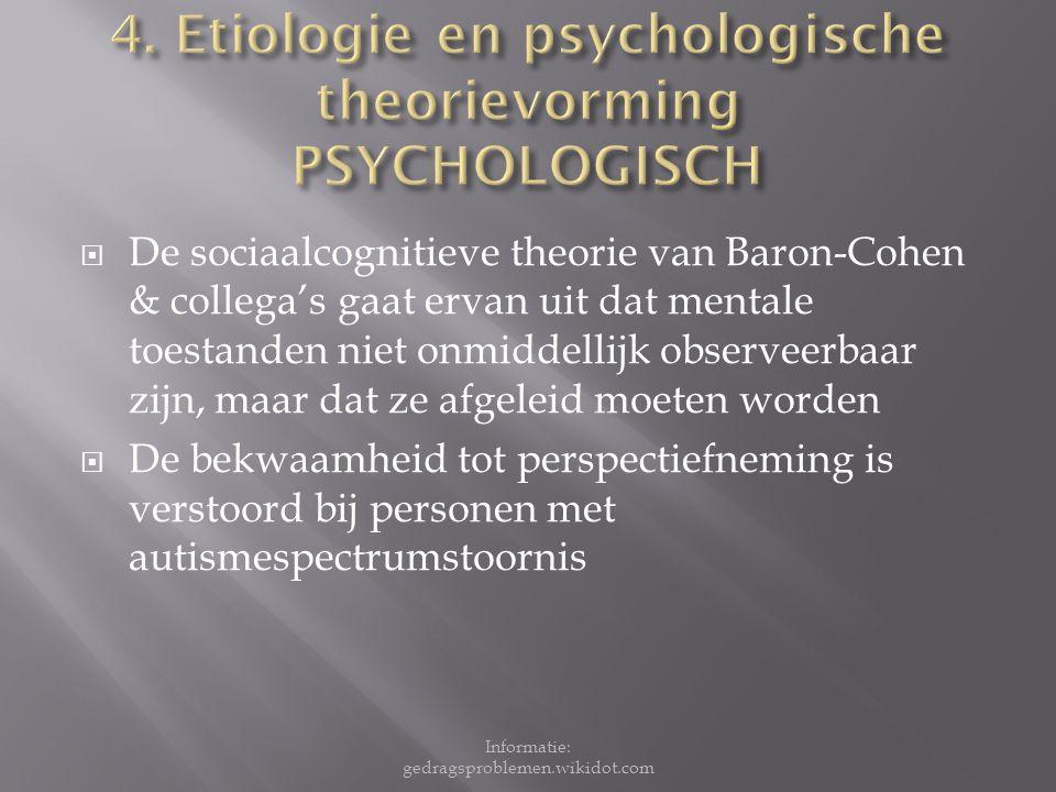 4. Etiologie en psychologische theorievorming PSYCHOLOGISCH