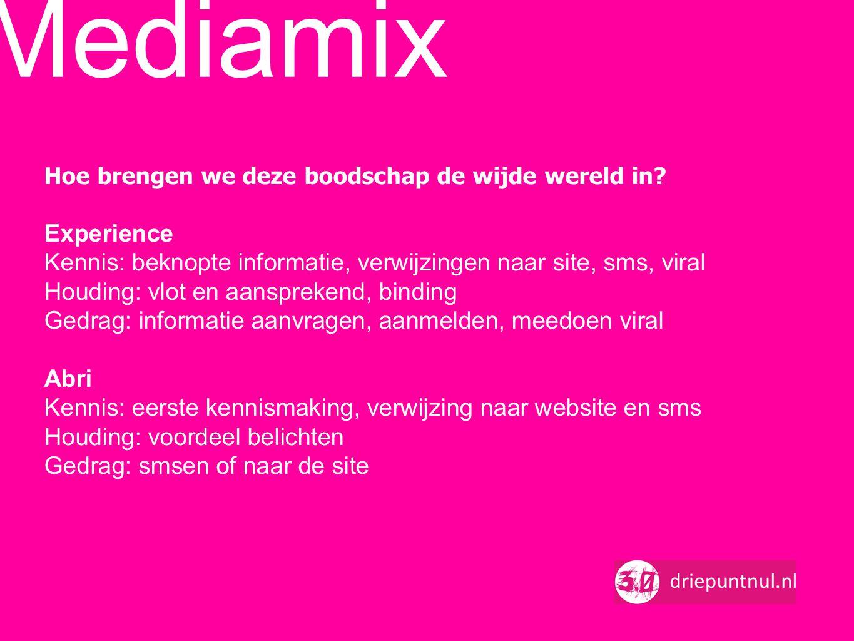 Mediamix Hoe brengen we deze boodschap de wijde wereld in Experience. Kennis: beknopte informatie, verwijzingen naar site, sms, viral.