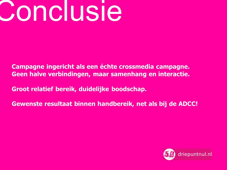 Conclusie Campagne ingericht als een échte crossmedia campagne.