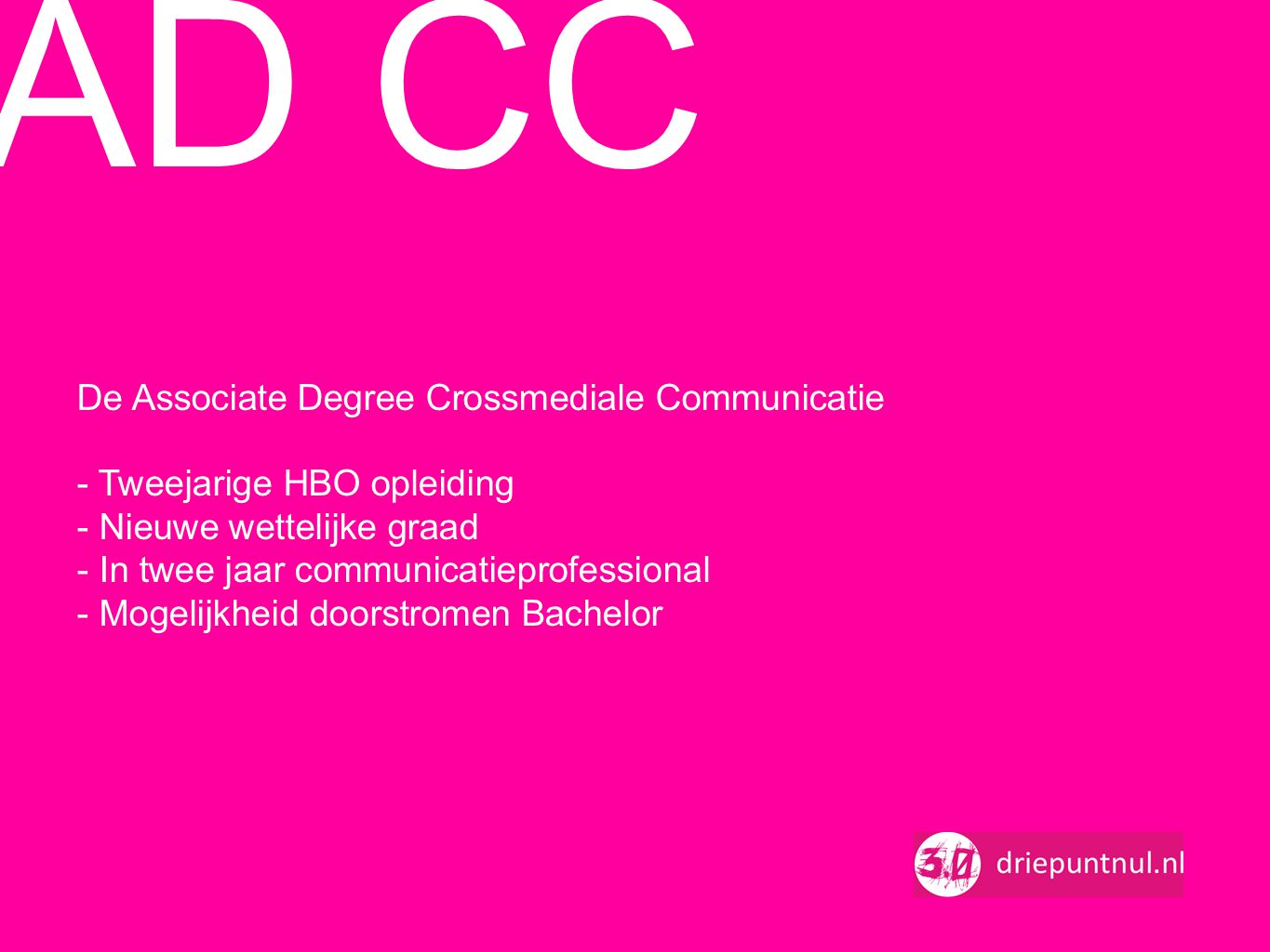 AD CC De Associate Degree Crossmediale Communicatie