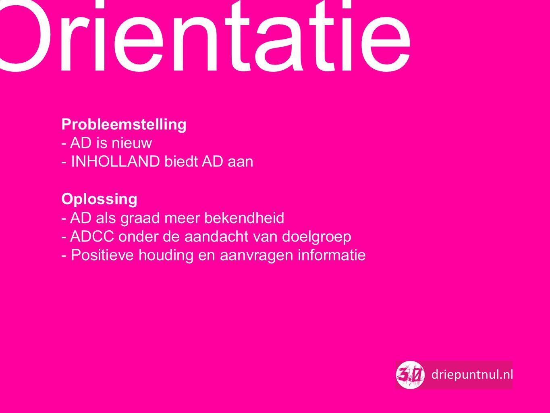 Orientatie Probleemstelling - AD is nieuw - INHOLLAND biedt AD aan