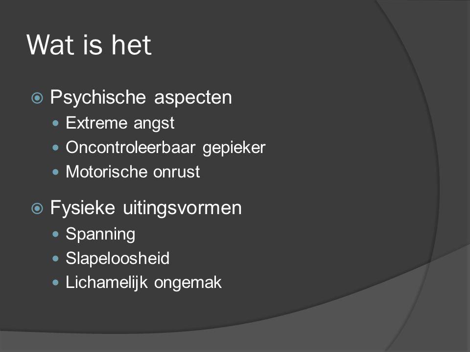 Wat is het Psychische aspecten Fysieke uitingsvormen Extreme angst