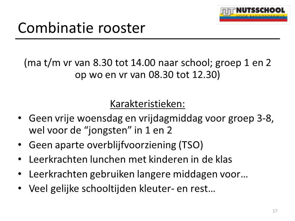 Combinatie rooster (ma t/m vr van 8.30 tot 14.00 naar school; groep 1 en 2 op wo en vr van 08.30 tot 12.30)