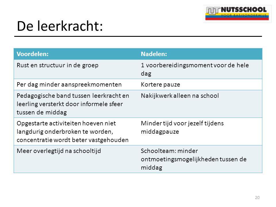 De leerkracht: Voordelen: Nadelen: Rust en structuur in de groep