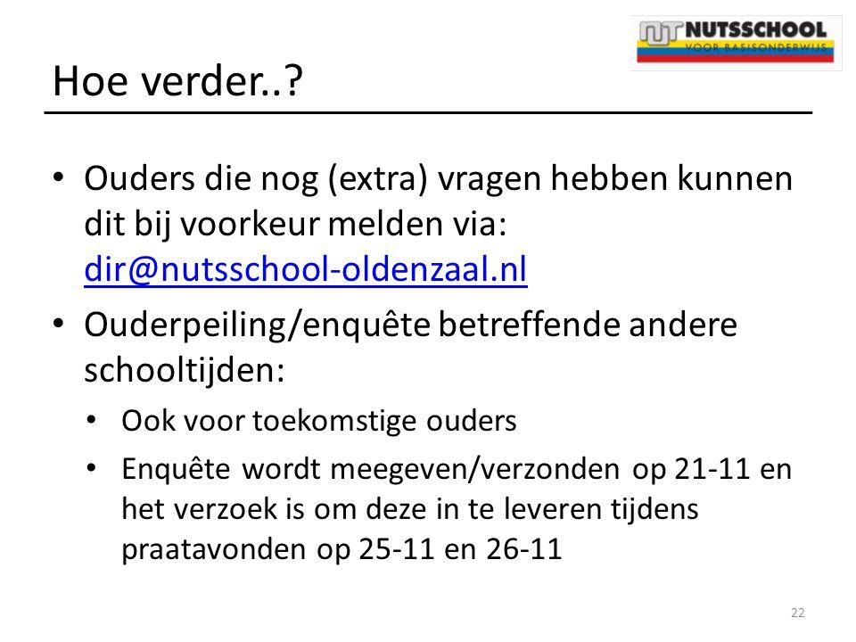 Hoe verder.. Ouders die nog (extra) vragen hebben kunnen dit bij voorkeur melden via: dir@nutsschool-oldenzaal.nl.