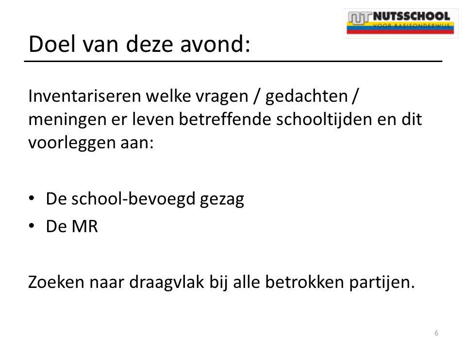 Doel van deze avond: Inventariseren welke vragen / gedachten / meningen er leven betreffende schooltijden en dit voorleggen aan: