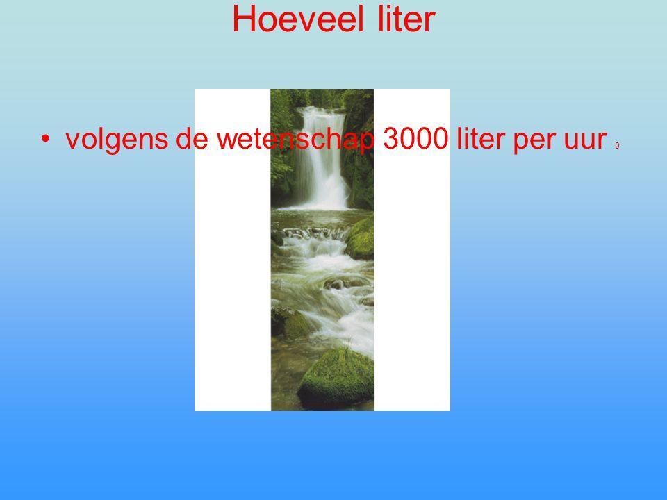 Hoeveel liter volgens de wetenschap 3000 liter per uur 0