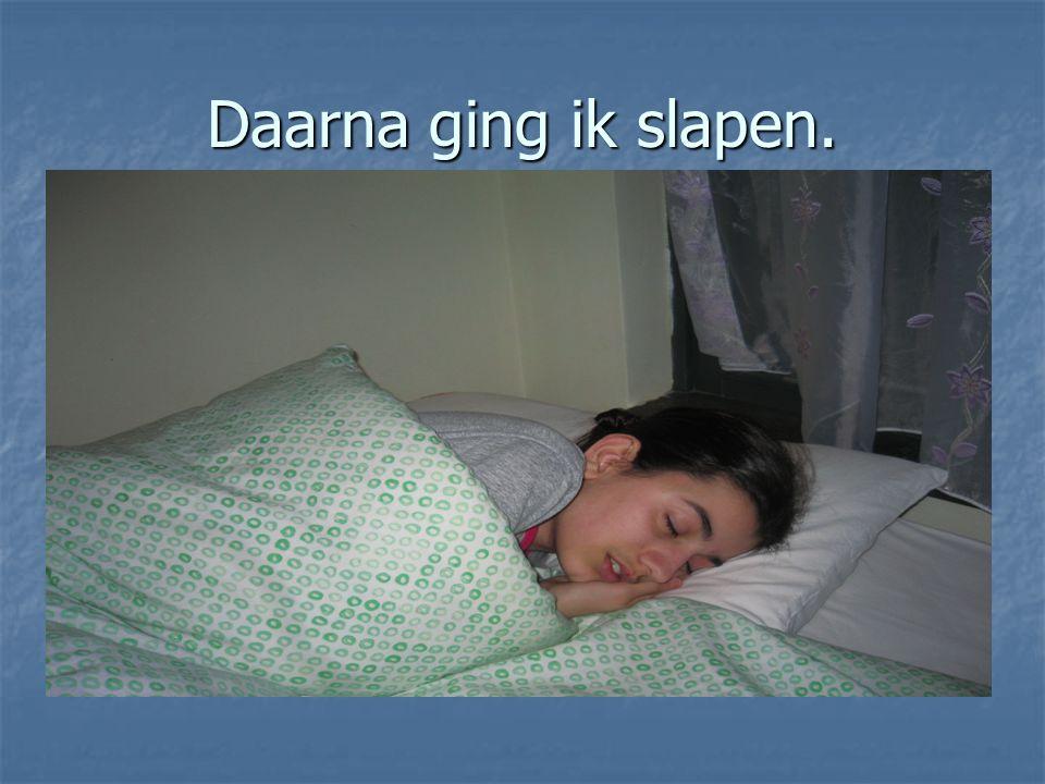 Daarna ging ik slapen.