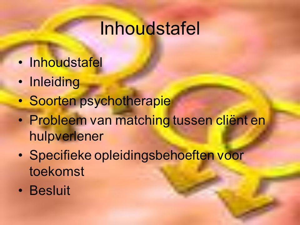 Inhoudstafel Inhoudstafel Inleiding Soorten psychotherapie